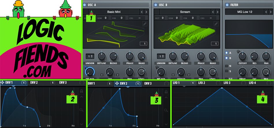 Tutorial settings with Filter and LFO automation.